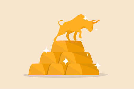 Gold investment bull market, safe haven in financial crisis or gold price rising up as investor run a concept, shiny bull statue on stack of bullion gold bar, ingot treasure.