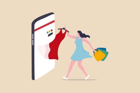 Online shopping e-commerce or buy and purchasing products through computer website and mobile app concept, beauty young lady holding shopping bags pulling stylish dress from smartphone, mobile display
