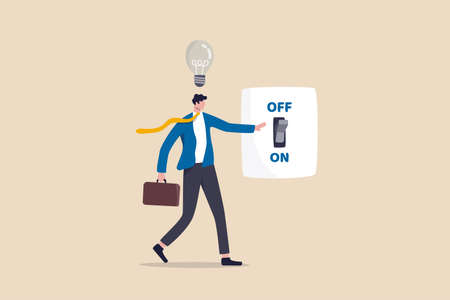 New business ideas, inspiration and creativity to think about new idea concept, smart businessman in suit switching on the switch to turn on lightbulb lamp over his head metaphor of discover new idea.