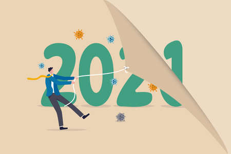 Year changing to 2021 from 2020 Coronavirus COVID-19 outbreak, the worst year of world health care and economic concept, man pulling to change calendar healthy new year with coronavirus pathogen.