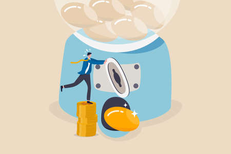 ROI, Return on Investment or high profit and success stock investing concept, smart businessman investor or company owner insert money coin into gumball machine and make it return precious golden egg.