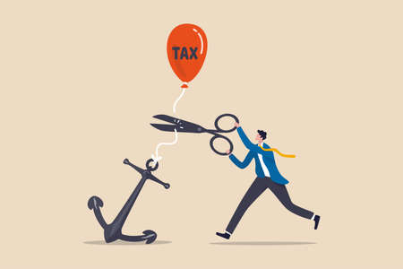 Government raising tax policy, increase income taxation payment in economic crisis concept, businessman government leader using scissors to cut rope on anchoring balloon with the word tax.