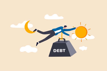 Debt crisis for salary man, working hard day until night making money to pay for debt of overspending habit concept, tried businessman holding on the moon and sun with heavy weight with the word debt. 矢量图像
