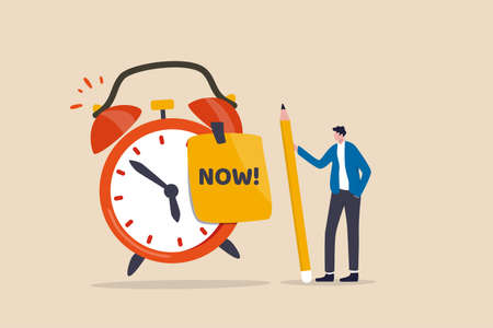 Stop procrastination, do it now or decision to finish work or appointment in time concept, confidence businessman holding pencil after he wrote the word Now on note and stick it on ringing alarm clock 矢量图像