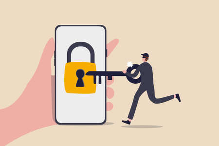 Cyber security, hacker steal money online, phishing or digital banking threat concept, hand holding mobile smart phone with lock with keyhole with criminal thief using key to unlock and steal money.