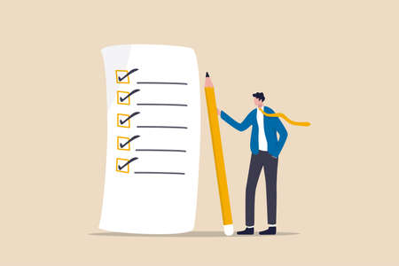 Checklist for work completion, review plan, business strategy or todo list for responsibility and achievement concept, confident businessman standing with pencil after completed all tasks checklist.