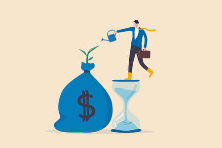 Saving and investment account, prosperity, growth earning from compound interest in long term investing concept, smart businessman investor standing on sandglass watering growing sprout from money bag