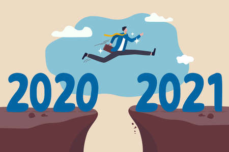 New year 2021 hope for business recovery, change year from 2020 to 2021 calendar or new challenge coming concept, confident success businessman attempt to jump high overcome risk to next cliff. Çizim