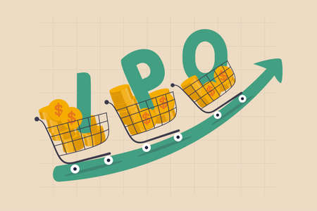 New stock IPO, initial public offering company going public to trade in stock exchange market concept, cart with money coins with the alphabet IPO riding on green rising up trading price graph.