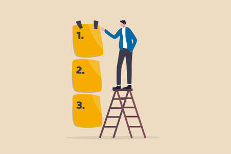 Set work priority, arrange to do list which job to do before and after, task management concept, young entrepreneur businessman manage to prioritize sticky note with number first, second and third. 向量圖像