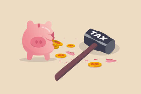 Tax planning mistake, pay a lot of money for income tax causing money loss impact saving plan concept, broken pink piggy bank and money coins pouring out with the evidence of hammer with the word Tax. 向量圖像