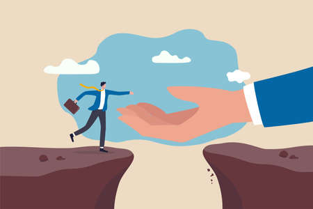 Helping hand support in career development, solve business problem or overcome obstacle concept, god hand reach to help or recuse businessman cross the cliffs.