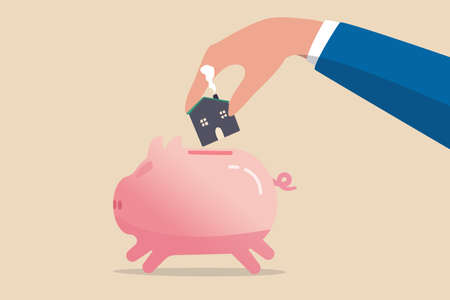 Saving for house, mortgage or housing loan, collect money for down payment concept, human man holding warm family house insert into pink piggy bank.