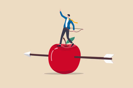 Business goal achievement, risk management or practicing and skill to overcome risky and manage to reach target concept, confidence businessman with archer standing on apple hit by his accurate arrow. 向量圖像