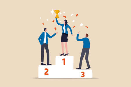 Woman leadership, lady power to lead company or team to win and reach business target concept, confidence smart woman team leader 1st winner with champion cup celebrating success business competition.