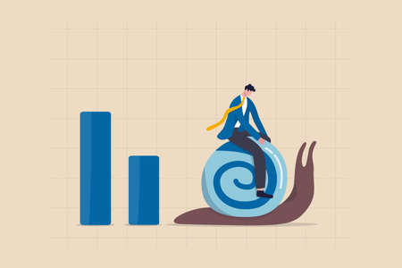 World economic slow down due to COVID-19 Coronavirus pandemic, GDP growth slowly or decline in recession concept, depressed sad businessman riding slow walking snail on economic graph and chart.