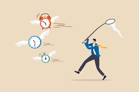 Lack of time or running out of time, countdown for work project deadline or time is valuable thing in life concept, frustrated businessman hurry chasing to catch flying away alarm clock and stop watch 向量圖像