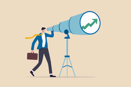 Business and investment vision to see ahead future return or ability to see opportunities for work and career concept, smart businessman investor look into huge telescope to see rising up green graph.