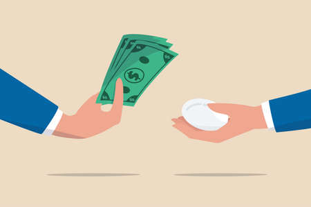 Inflation, reduction of money value to buy consumer product price or supplies food cost higher concept, businessman hand holding heap of dollar money banknote to buy an egg.