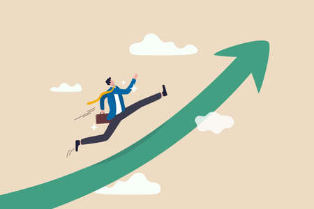 Improvement in work, career path to grow, achievement and success in job or leadership to win business concept, confidence smart businessman in suit with briefcase running on rising arrow to the sky. 向量圖像