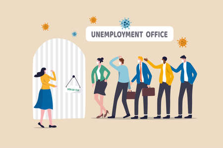 Unemployment, jobless or lay off due to COVID-19 Coronavirus pandemic causing economic crisis concept, jobless people wearing mask in long queue line in front of unemployment office, virus pathogen. 向量圖像