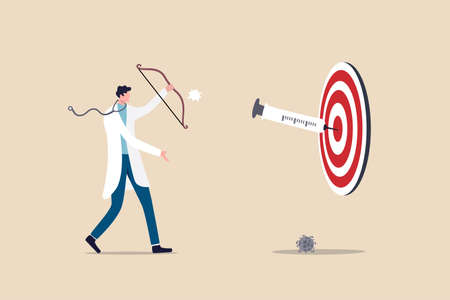 COVID-19 vaccine discovery success, vaccination effect to create 100 percent antibody on Coronavirus concept, doctor or medical research staff shooting vaccine syringe as arrow hitting bullseye target