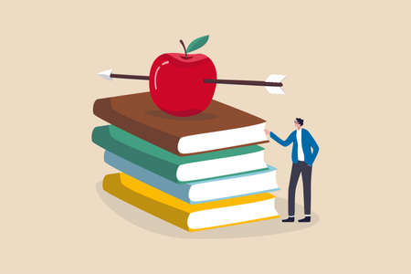 Knowledge, education, academic and scholarship concept, smart teacher or professor waiting to teaching class standing with archery arrow hitting right on red apple on stack of text books. 向量圖像