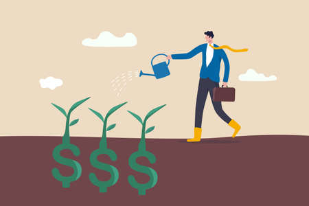 Dividend investment, prosperity and economic growth or saving and business profit concept, happy businessman investor holding watering can to watering grow sprout seedling he plant from dollar sign.