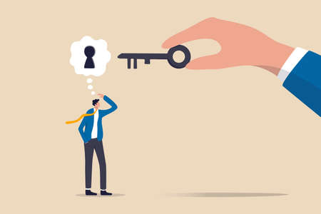 Business support or help to solve problem, clear and unblock work obstacle or key to unlock business idea concept, businessman thinking with idea as a keyhole with helping hand holding the success key 向量圖像