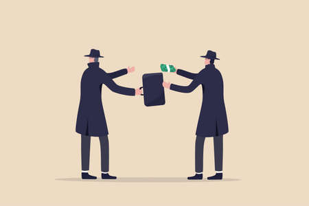 Fraudulent business, bribery, cheat and corruption or hacker who steal data and sell it on dark web concept, anonymous criminal guy with a lot of money buying stolen thing from other suspicious thief. 向量圖像