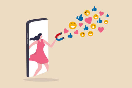 Influencer marketing, digital social media for marketing campaign or advertising concept, beautiful teenage lady stand out from mobile smartphone using magnet to draw social media emoji interaction.