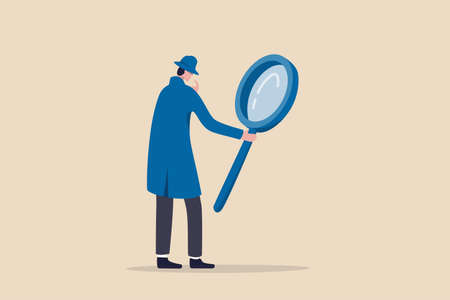 Search, discover, analyze report or specialist investigate and research for insight information concept, curiosity guy detective holding huge magnifying glass and thinking about evidence and result. 向量圖像