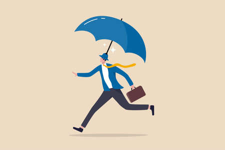 Insurance and protection, safety and security or business shielding or shelter to protect in economic crisis concept, confidence businessman entrepreneur wearing hat with strong umbrella running safe.