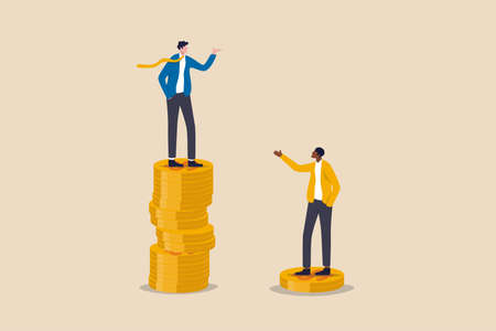 Economic inequality, rich and poor gap, unfairness income, different money people being paid concept, white rich businessman standing on high salary coins tower with poor black man on low coins stack. Vektorgrafik