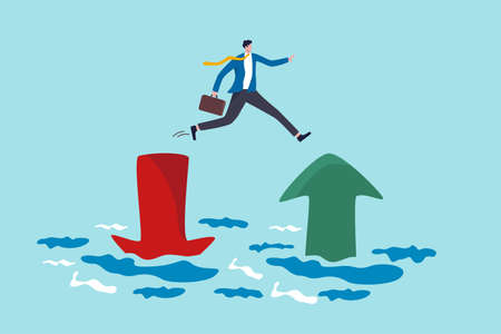 Financial plan, saving and investment or stock market rebound and economic recover concept, confidence businessman investor jump from red pointing down arrow to green rising up. Illustration