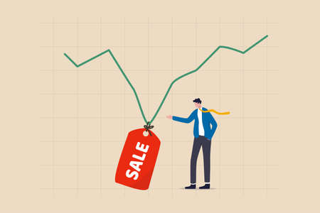 Stock market is on sale when market plunge in economic crisis, buy point to make profit in long run concept, businessman investor expertise pointing at lowest with sale price tag on stock market graph 向量圖像
