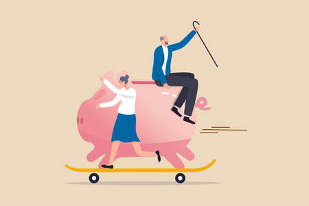 Retirement planning, success investment in 401K, Roth IRA or retirement pension fund concept, happy elderly couple senior man riding huge piggy bank with his wife on fast growth skate board.