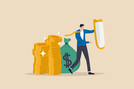 Wealth protection, investment asset allocation portfolio in volatility market or saving guard in financial and economic crisis, businessman expert with strong shield to protect money coins stack.