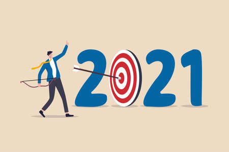 New year 2021 resolution, business strategy plan and goal achievement, financial target for calendar year concept, confidence businessman leader shot archer arrow hitting bull eyes of target year 2021 向量圖像