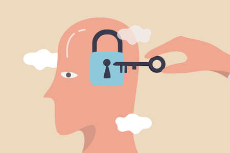 Unlock business idea, motivation to find out and search for business opportunity or creativity concept, businessman hand holding secret key to unlock ideas on human head.