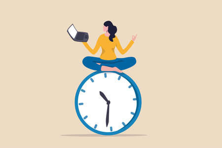 Flexible working hours, work life balance or focus and time management while working from home concept, young lady woman working with laptop while doing yoga or meditation on clock face. 向量圖像