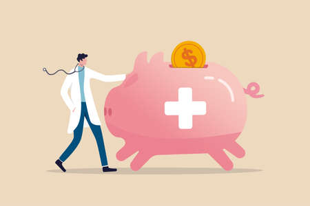 Health saving account, HSA, financial plan saving for medical expense or medicare cost and benefits concept, doctor with stethoscope standing with huge pink piggy bank or coin bank with medical sign.