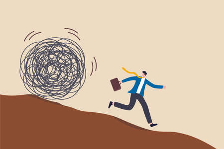 Run away from trouble, avoid from working stress, conflict with people or escape from financial problem or economic crisis concept, fear businessman running away from trouble circle. 向量圖像