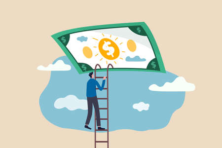 Ladder of success in financial freedom, climbing up to reach saving and investment target concept, confidence businessman climbing ladder high in the sky to get into money dollar banknote heaven. 向量圖像