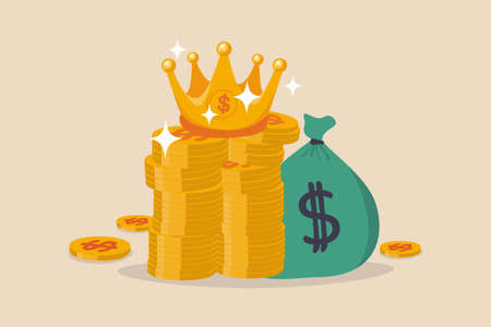 Cash is king, money is the best value in crisis or investor prepare cash to buy stock in economic crisis concept, stack of money dollar coins and money bag with precious king golden crown. 向量圖像