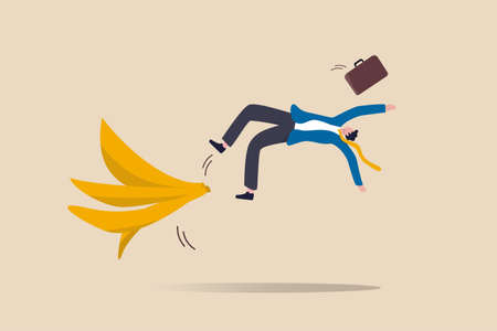 Business mistake or accident, insurance, disaster suddenly happened without warning or risk and danger in investment concept, businessman running and slipping with big banana peels on the ground.