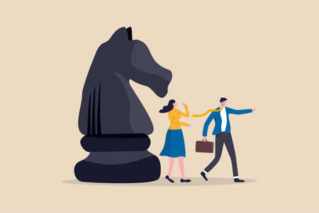 Business strategy, leadership and skill to solve business problem, make decision to achieve target concept, smart businessman leader pointing the direction with his colleague thinking and knight chess Ilustrace