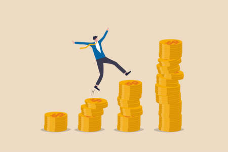 Compound interest, money growth investment, prosperity or earning and profitability stock concept, happy businessman investor jumping on stack of growth compound money coins.
