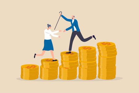 Retirement saving or investment pension fund, planning for wealth and expense for living after retire concept, happy rich elderly couple old man and woman walking on stack of growth money coins saving