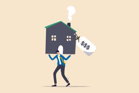 Overpay in real estate and house mortgage, too much invest or expense to pay for debt and loan in economic crisis concept, tried depressed office worker man carrying house with expensive price tag.